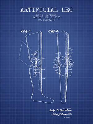 Artificial Leg Patent From 1955 - Blueprint Art Print