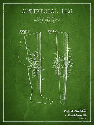 Artificial Leg Patent From 1955 - Green Art Print