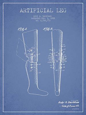 Artificial Leg Patent From 1955 - Light Blue Art Print