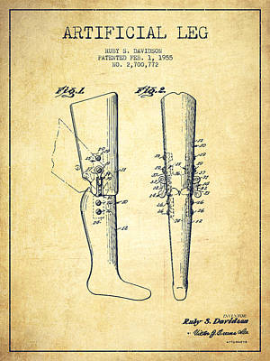Prosthesis Digital Art - Artificial Leg Patent From 1955 - Vintage by Aged Pixel