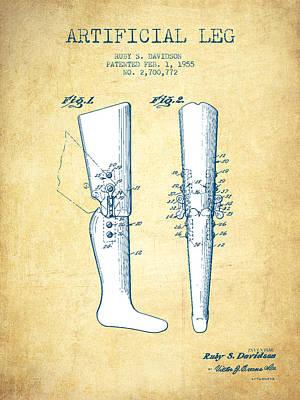 Artificial Leg Patent From 1955 - Vintage Paper Art Print