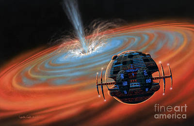 Artificial Planet Orbiting A Black Hole Art Print