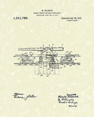 Drawing - Artillery Mount 1919 Patent Art by Prior Art Design