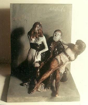 Artist 2 Models In Black Lingerie Art Print by Harry WEISBURD