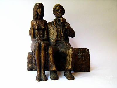 Bronze Sculpture - Artist And His Model by Nikola Litchkov