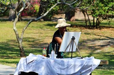 Artist At The Park  Art Print by Cynthia Guinn