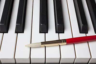 Piano Photograph - Artist Brush On Piano Keys by Garry Gay