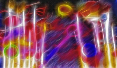 Mess Mixed Media - Artist Brushes - Paint Mess Composite - Fractal by Steve Ohlsen