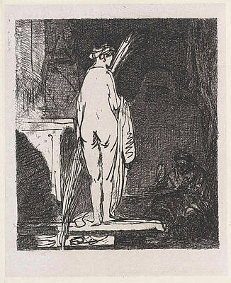 Self-portrait Drawing - Artist Draws A Nude Model, Jan Weissenbruch by Jan Weissenbruch And Rembrandt Harmensz. Van Rijn