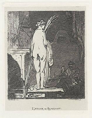 Self-portrait Drawing - Artist Draws A Nude Model, Jan Weissenbruch by Jan Weissenbruch