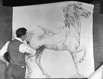 Artist Draws Carousel Animals Print by Underwood Archives