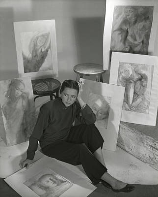 Photograph - Artist Irena Wilet Surrounded By Her Drawings by Horst P. Horst