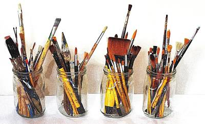 Paint Photograph - Artist Paint Brushes 1 by Eamonn Hogan