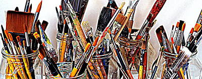 Studio Shot Photograph - Artist Paintbrushes 5 by Eamonn Hogan