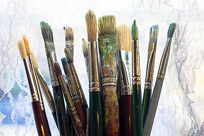 Messy Photograph - Artist Paintbrushes by Garry Gay