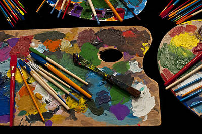 Photograph - Artist Palette With Brushes by Jim Corwin