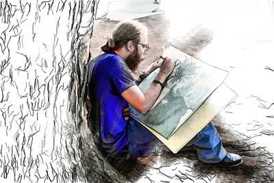 Mixed Media - Artist Under A Tree by John Haldane