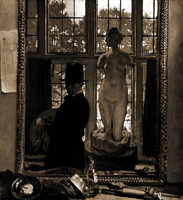 Mirror Drawing - Artist With Sculpture Reflected In Mirror by Litz Collection