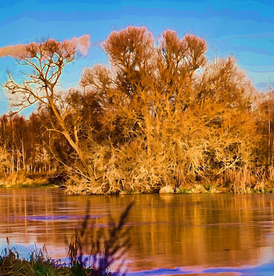 Artistic Big Tree Colored Coloured #orange By Sun On January 2 2015 Besides The Creek Of Enkoping Art Print