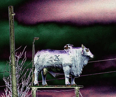 Artistic Brahma Bull Print by Linda Phelps