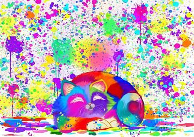 Splatter Digital Art - Artistic Cat 2 by Nick Gustafson