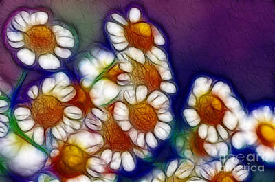 Floral Digital Art Digital Art Digital Art - Artistic Feverfew by Kaye Menner