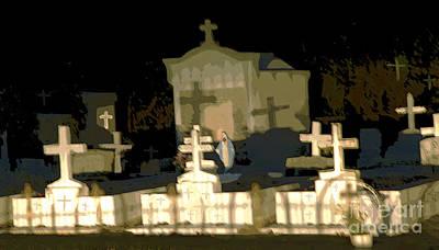 Mother Mary Digital Art - Louisiana Midnight Cemetery Lacombe by Luana K Perez