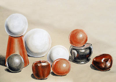 Food And Beverage Drawings - Artistic Playground Apples and Balls Show by Irina Sztukowski