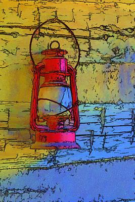 Glass Wall Digital Art - Artistic Red Lantern by Linda Phelps