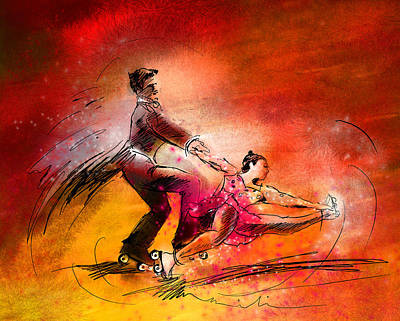 Sports Paintings - Artistic Roller Skating 02 by Miki De Goodaboom