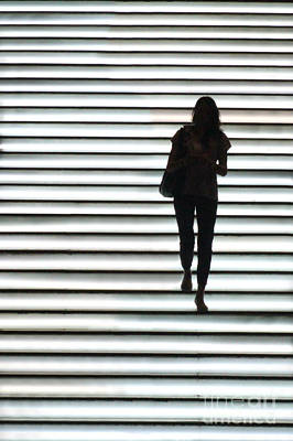 Stairs Wall Art - Photograph - Artistic Silhouette Girl Walking Down by Lars Ruecker