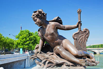 Paris Skyline Royalty-Free and Rights-Managed Images - Artistic statue on Alexandre Bridge against Eiffel Tower by Michal Bednarek