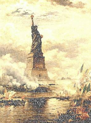 Typographic Painting - Artistic Typographic Statue Of Liberty by Celestial Images
