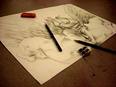 Diane Peters Drawing - Artist's Angel by Diane Peters