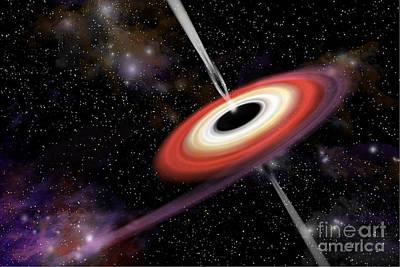 Jet Star Digital Art - Artists Depiction Of A Black Hole by Marc Ward