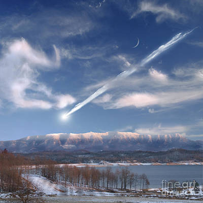 Surrealism Royalty-Free and Rights-Managed Images - Artists Depiction Of A Large Meteor by Marc Ward
