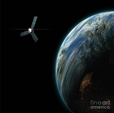 Surrealism Digital Art - Artists Depiction Of A Satellite by Marc Ward