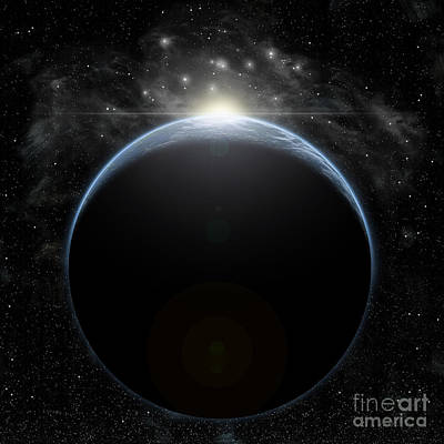Surrealism Royalty-Free and Rights-Managed Images - Artists Depiction Of A Star Breaking by Marc Ward