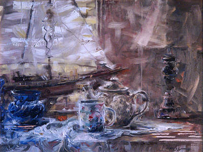 Artist's Desk With Boat Original by Larry Kaiser