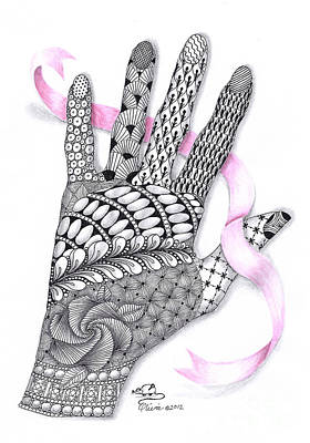 Olivia Drawing - Artist's Hand With Ribbon by Olivia H Keirstead