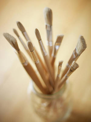 Jar Photograph - Artists Paint Brushes In A Jar by Adam Gault