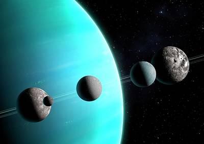 Artwork Comparing The Moons Of Uranus Art Print by Mark Garlick