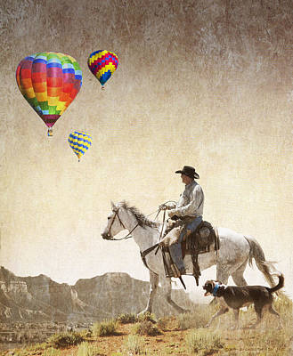 Working Cowboy Photograph - Artwork For Balloon Festival by R christopher Vest
