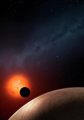 Extrasolar Photograph - Artwork Of Exoplanet Kepler 62f by Mark Garlick