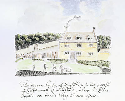 Manor Wall Art - Photograph - Artwork Of Newton's Birthplace by Science Photo Library