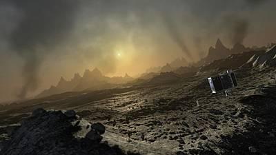 Artwork Of Philae Lander On Comet 67p Art Print by Mark Garlick