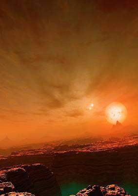Artwork Of Planet Orbiting Gliese 677c Art Print by Mark Garlick