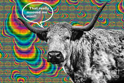 Longhorn Digital Art - Arty Coo Really Mooved by John Farnan