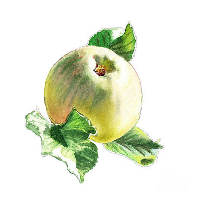 Green Apples Painting - Artz Vitamins Series A Happy Green Apple by Irina Sztukowski