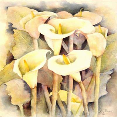 Arum Lily Painting - Arum Lilies by Roz Hoek